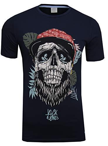 JACK & JONES Herren T-Shirt Festival Flower Support Tee Crew Neck Bart Skull Totenkopf Schädel Print Sonnenbrille, Blau (total Eclipse Fit:Slim) Medium