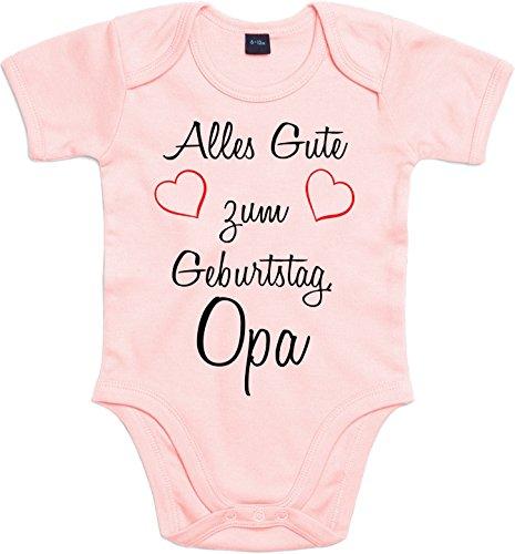 Mister Merchandise Baby Body Alles gute zum Geburtstag, Opa Strampler liebevoll bedruckt Glückwunsch Rosa, 6-12