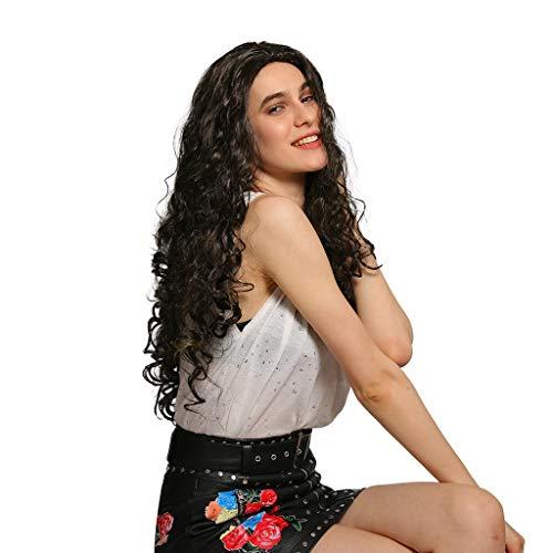 Nourich Perücke, 66 cm, Naturschwarz, lang, gewellt, für schwarze Frauen, hochwertig, gelockt, Kunsthaar-Perücke, einfach zu tragen, handgefertigt, für Partys, den täglichen Gebrauch (Prinzessin Perücke Kind Leia)