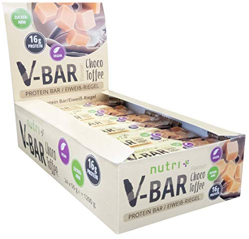PROTEINRIEGEL VEGAN 24er Box - High Protein Bar 50g - LowCarb Riegel V-BAR - Choco Toffee Geschmack - nur 155 Kalorien - 16 g Eiweiß - veganer Eiweißriegel ohne Zusatz von Zucker -