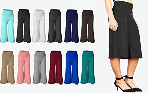Smile YKK Bequem Damen Freizeithosen Schlaghosen Stretche Hosen Palazzo Hosen Pants für Fitness Yoga Tanz Knielange Blau