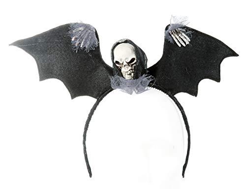 Preis am Stiel Halloween Haareif Totenkopf-Fledermaus | Kopfschmuck | Fledermaus | Totenkopf | Haarband | Kostüm Zubehör | Accessoires (Halloween Kostüm Spinne Braut)