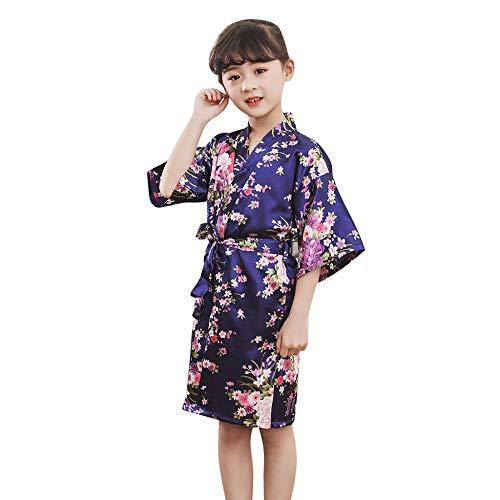 Kleinkind Kinder Mädchen Bademantel Baby Nachtwäsche Kleidung,Tonsee Elegant Blumendruck Silk Satin Kimono Roben Weich Bequem Pyjamas Nachthemd Kleider mit Gürtel (3-4T, Navy) (4t Kleinkind Robe)