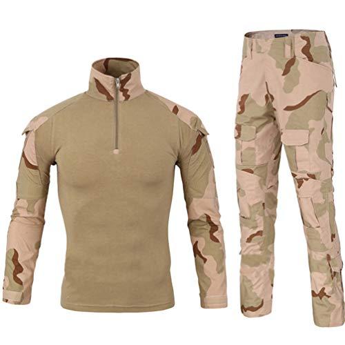 YuanDian Herren Tactical Camouflage Uniformen 2 Stück Sets Outdoor Militär Combat Frosch Anzug Armee Jagd Hosen Atmungsaktiv Langarm T Shirt Top Tarnmuster Bekleidung Tricolor Wüste XL -