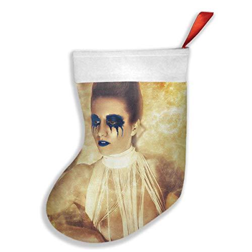 Voxpkrs Cool Halloween Blue Eyeshadow Lips Nude Girl Weihnachtsfeiertags-Strumpf-Weihnachtssocken für Familienfest-Dekorations-Geschenk -