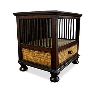 livasia Asiatische Kommode, Nachtschrank aus Massivholz mit Rattanverzierungen, Asia Möbel der Marke Asia Wohnstudio, verziert im Kolonialstil, (Nr.1)