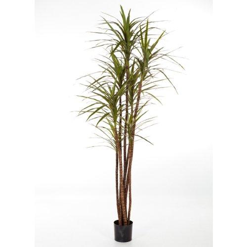 artplants – Deko Dracaena Magenta Imani, getopft, 140 Blätter, grün, 120 cm – hochwertige Kunstpalme/Künstliche Pflanze