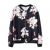 MORCHANMode Femmes Automne Hiver Casual Impression Floral imprimé Top Manteau Outwear Sweat-Shirt Veste Manteau Cardigan Manteau Blouson(FR-42 / CN-S,Noir)