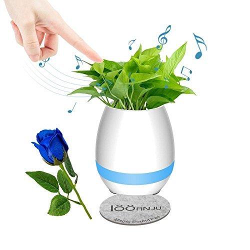 Musik Blumentopf Bluetooth Wireless Lautsprecher Nachtlicht USB Ladegerät Smart Runde Nette Blumentöpfe Blau Rosa Weiß Blau Indoor (Keine Anlage) (Weiß)