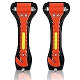 2 x OMorc Auto Notfall Hammer, Auto Sicherheitshammer mit Gurtschneider, Gurtmesser, Fahrzeugsicherheit Hammer, Notfallhammer für Auto, Bus