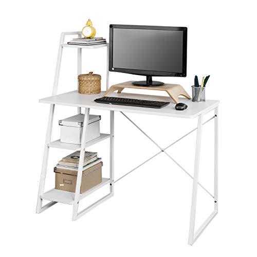 SoBuy FWT29-W Bureau Informatique, Secrétaire Table Plan de Travail avec 3 étagères Cadre métal -Blanc