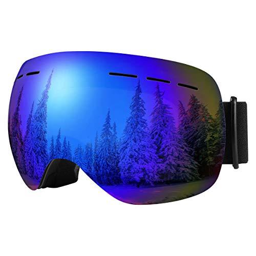 Bfull Skibrille Für Damen und Herren Kids Brillenträger Skibrille 100% OTG UV400 Anti-Fog UV-Schutz Skibrillen Snowboard Skibrille Schutz Ski Goggles (Gray-revo Blue Lens VLT 10.5%)