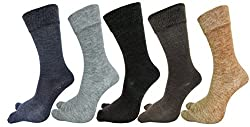 RC. ROYAL CLASS Warm Woolen Calf Length Thumb Socks For Women (Multicolors) (Pack of 5 Pairs)