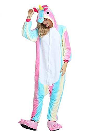 Missley Einhorn Pyjamas Kostüm Overall Tier Nachtwäsche Erwachsene Unisex Cosplay (S, Blue Rainbow) (Tiere Kostüme)