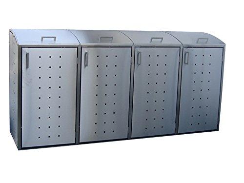 Mülltonnenbox, Modell Milbo für vier 240 Liter Mülltonnen aus Edelstahl