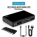 Mini UPS Gruppi di continuità, ingresso 100 V ~ 240 V CA, uscita 5 V / 9 V / 12 V / 15 V / 24 V DC, 8800 mAh Power Bank per webcam/telecamera TVCC/router Wrieless/VOIP/Modem
