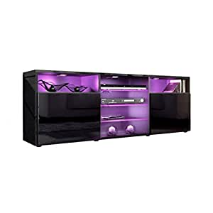 Tv unit stand granada carcass in black high gloss front for Black kitchen carcasses