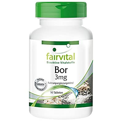Fairvital - Boron 3mg - In Pure Form - Trace Element with Soothing Properties for Bones, Joints and Tissue - 90 Vegetarian Tablets by fairvital