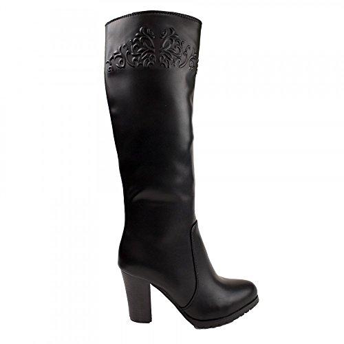 Bottes femme noir simili cuir souple motif fleur baroque ton sur ton- Noir