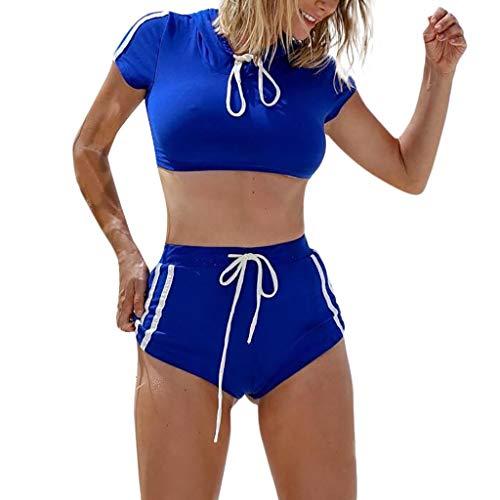 Speedo Tankini Nylon (MAYOGO Frauen Zweiteiler Sportlich Rund Hals Bademode Badeanzüge Bikini Sets Tshirt mit Bügel,Damen Sommer Strandkleid Badebekleidung Tankinis Swimsuit Serie1-3)