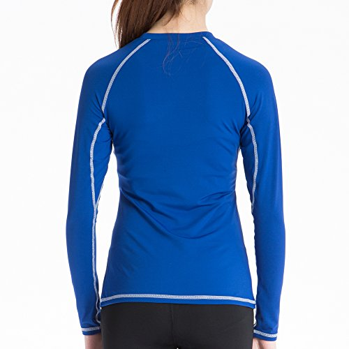 Bmeigo Femme Sport Shirt Manches longues Fitness Exercise Fast Dry blue