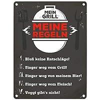 Blechschild Mein Grill meine Regeln in 15x20 cm Metallschild Reklameschild