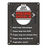 trendaffe Mein Grill Meine Regeln Blechschild in 15x20 cm - Meine Grillregeln Metallschild Reklameschild Dekoschild