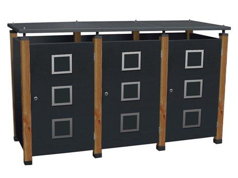 Müllbox-System Pacco Quad2 für drei 240 Liter Tonnen