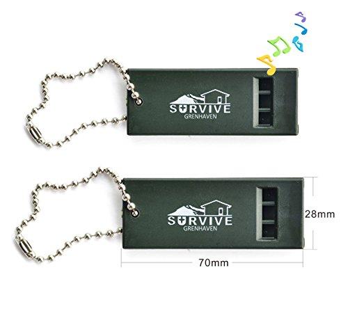 Grenhaven 2er SET Notfallpfeife Signalpfeife ertönt in 3 Klangtönen Survival - Pfeife in Olivgrün