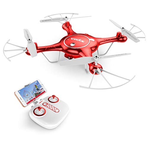AUKWING Drohne mit 720P HD Kamera, Syma X5UW WiFi FPV RC Quadcopter Headless Outdoor, 2.4G 6-Achsen-Gyro (Rot)