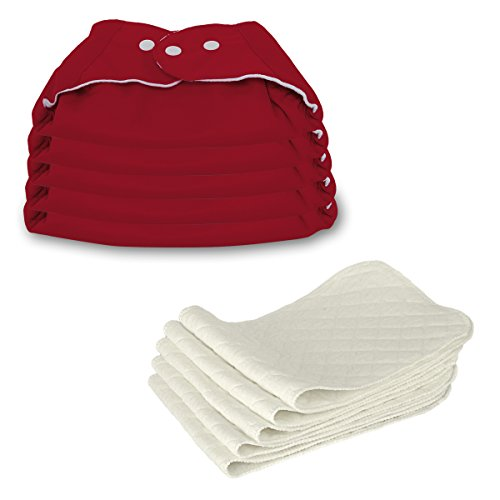 5 Stück Wiederverwendbare Waschbare Verstellbar Babywindeln Baby Windelhose Baby-Tuch-Windel Weicher Stoff, Größe Verstellbar (Rot)