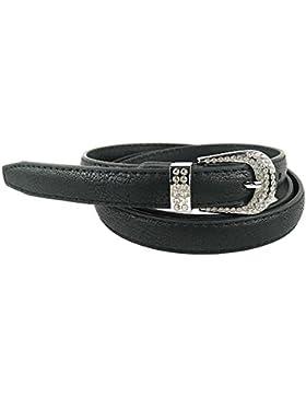 MYB Cintura per donna in similpelle - fibbia con strass - diversi colori e dimensioni
