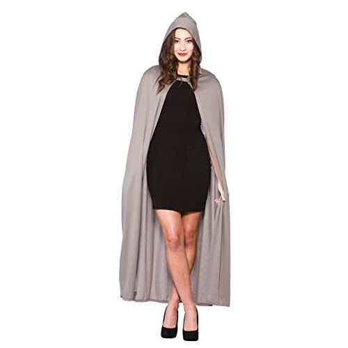 (Adult Hooded Cape Grey Fancy Dress Halloween Vampire Super Hero Wizard Witch New)