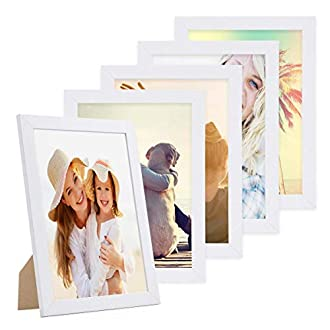 Photolini Set di 5 cornici per Foto da 21x30 cm/DIN A4 Basic Collection Modern Bianco in MDF, Accessori Inclusi/Collage Foto/Galleria Fotografica
