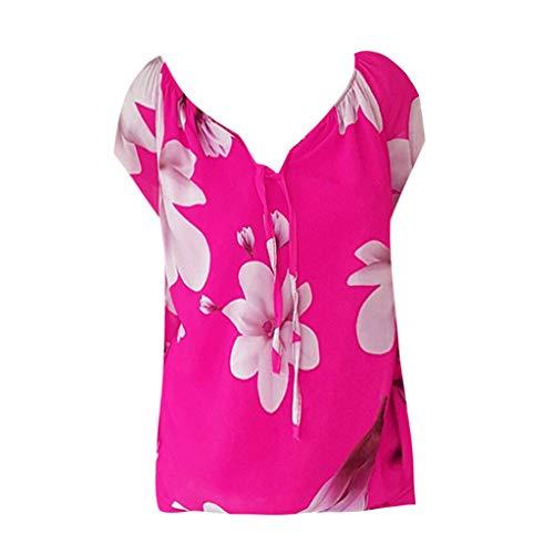 Sanahy Damen T-Shirt Strappy V-Ausschnitt, Druck Sexy Shirt Lose Basic Tops Top Bluse Tunika Oberteile Kurzarmshirt Kurzarm Tee