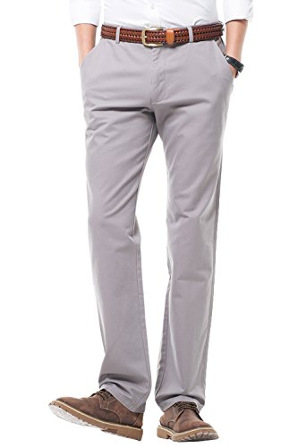 HARRMS Herren 100% Baumwolle Hose, Regular Fit, Straight Leg, Lange Business Hose Casual Stoffhose Freizeithose,Grau,30 (Hosen Business Casual)