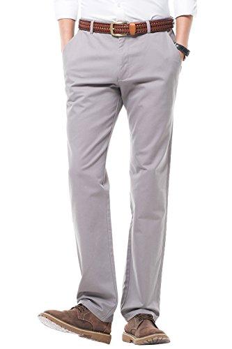 Harrms Herren 100% Baumwolle Hose, Regular Fit, Straight Leg, Lange Business Hose Casual Stoffhose Freizeithose,Grau,34