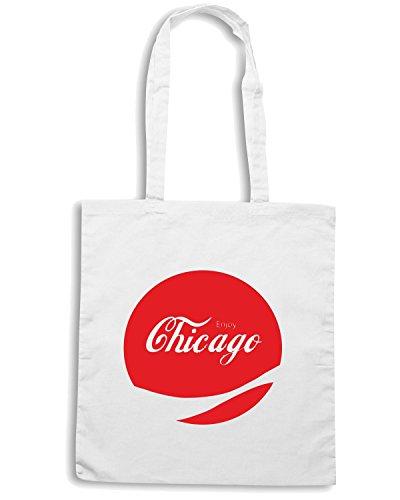 T-Shirtshock - Borsa Shopping ENJOY0031 Enjoy Chicago Bianco