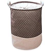 Preisvergleich für Soriace aufbewahrung, premium foldable cotton line Wäschekorb Klapp Kinder Spielzeug organizer Spielzeug aufbewahrung Spielzeug Warenkorb Kleidung Halter wäschebox mit Deckel gepunktet, Kaffee