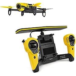 Parrot BEBOP - Dron cuadricóptero (Full HD 1080P, 14 Mpx, 47 Km/h, 11 minutos de vuelo, 8GB, GPS, Vídeo Live Streaming) + Mando Skycontroller + 2 baterías, color amarillo