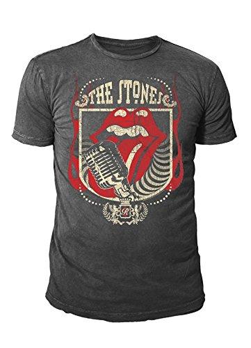 The Rolling Stones - Camiseta - Logotipo - Básico - Cuello redondo - para hombre Piedra Gris Large