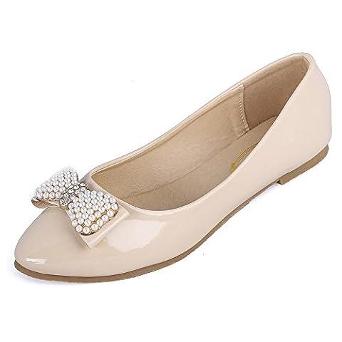 AalarDom Femme Couleur Unie Pu Cuir Non Talon Pointu Chaussures à Plat avec Bijou, Abricot, 38.5