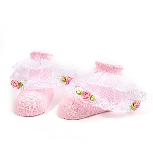 Schöne Neugeborene Baby Socken Bequeme Baumwollsocken Booties Socken mit Spitze für 0-12 Monate Baby Girls Geburtstag Socken Foto Requisiten Outfits (Rosa) -