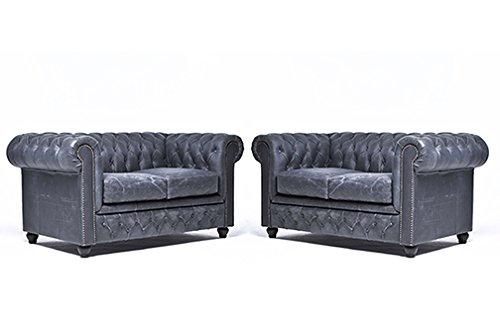 Original Chesterfield Sofas – 2 / 2 Sitzer – Vollständig Handgewaschenes Leder – Vintage Schwarz