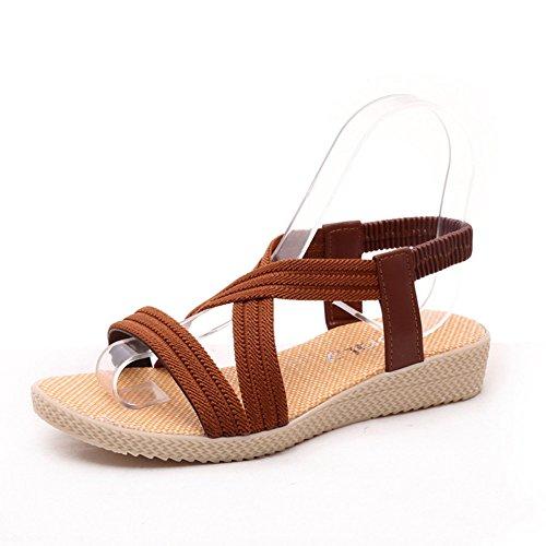 mothcattl Frauen Plattform Gummiband Sandalen Sommer Open Toe Cross Strap Anti Skid Schuhe Brown 35 (Blau Und Brown-baby-dusche)