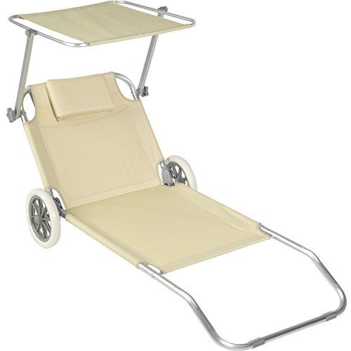 Tectake 800536 - lettino da spiaggia con ruote, tettuccio parasole regolabile alluminio 176 cm - disponibile in diversi colori (beige | nr. 402785)