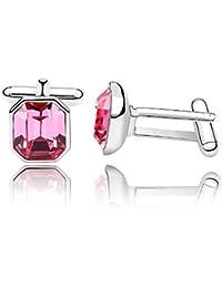 DEPOT TRESOR Manschettenknöpfe Swarovski element NEW Farbe-rosa-kostenlose Lieferung