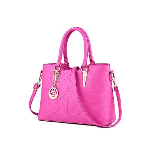 Emotionlin Style Europei Femminili Borsa Spalla Pure Color Pu Leather Tote Di Donne Zip Pouch Bag(Green) Rose