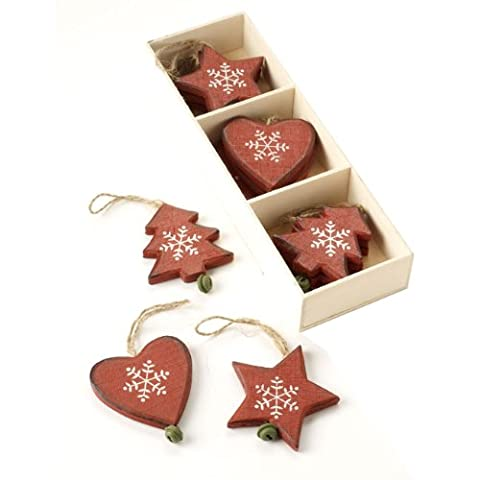 Wooden Heart, Star & Tree Decorations In Wooden Box
