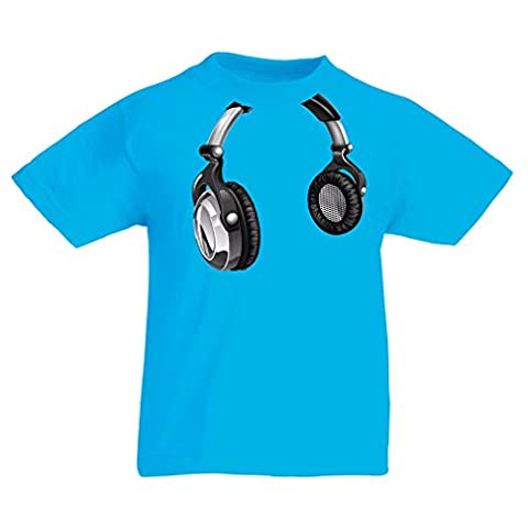T-shirt pour enfants for Music Lovers - DJ Gift, retro music, electronics, headphone print (14-15 years Bleu clair Multicolore)